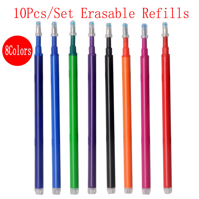 0 5mm 4pcs set Erasable Pen Or 10Pcs Set Erasable Refill Gel Pen Ink 8Color Available Office School Student Writing Tool in Gel Pens from Office School Supplies