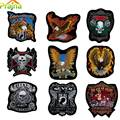 23x25cm Embroidery Motor Eagle Iron On Patches Route America's Highway Iron On Biker Patches For Clothes Vest Jacket Back Patch