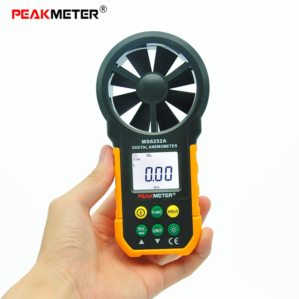 Wind Speed Test Meter Multifunction Digital Anemometer Tachometer/Air Volume/Thermometer/Humidity HYELEC MS6252A Hot Sale