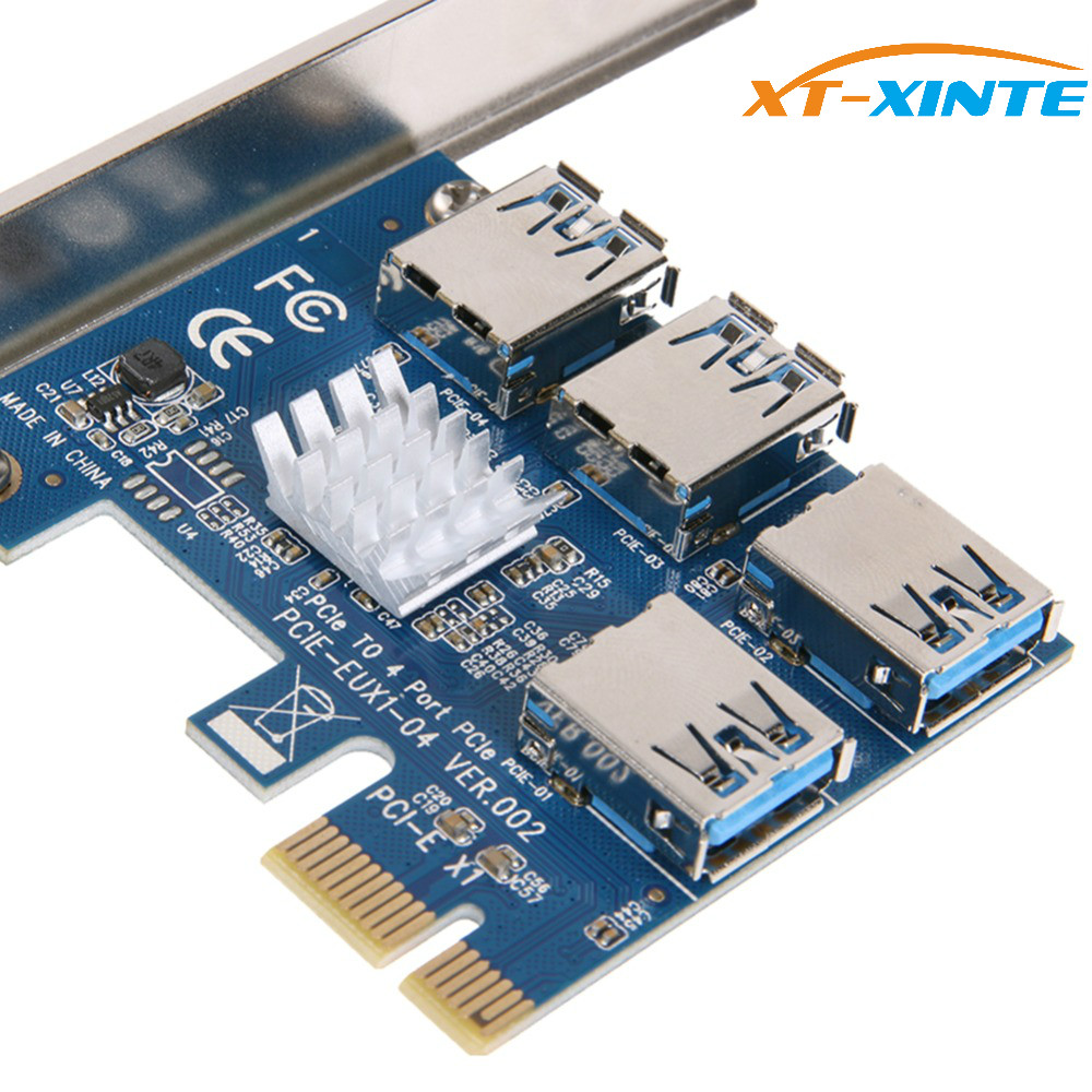 купить PCIe 1 to 4 PCI express 16X slots Riser Card PCI-E 1X to External 4 PCI-e Slot Adapter PCIe Multiplier Card for Bitcoin Miner по цене 1109.56 рублей