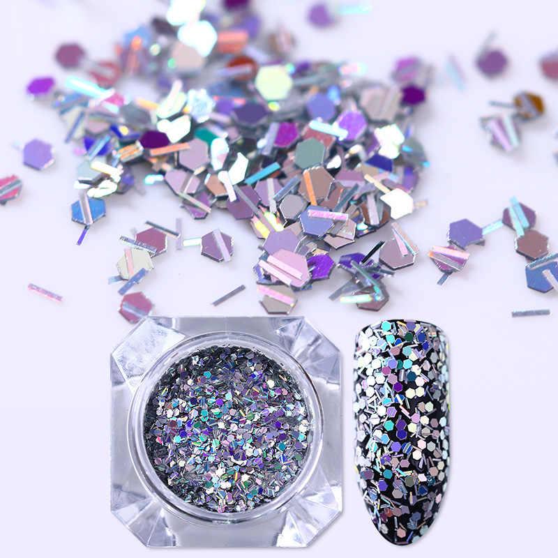 1 caja holográfica brillo de uñas lentejuelas oro plata hexágono rombos iridiscentes flaillette coloridas decoraciones de uñas