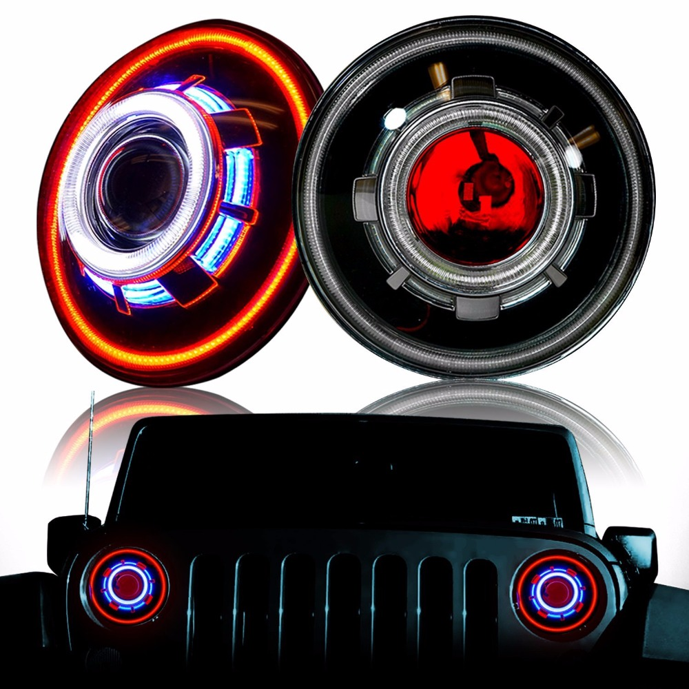 7 Inch LED headlight 7 HID Xenon Headlight Hi/Lo Beam Headlamp with Evil Eyes for jeep wrangler led light 2pcs new design 7inch 78w hi lo beam headlamp 7 led headlight for wrangler round 78w led headlights with drl