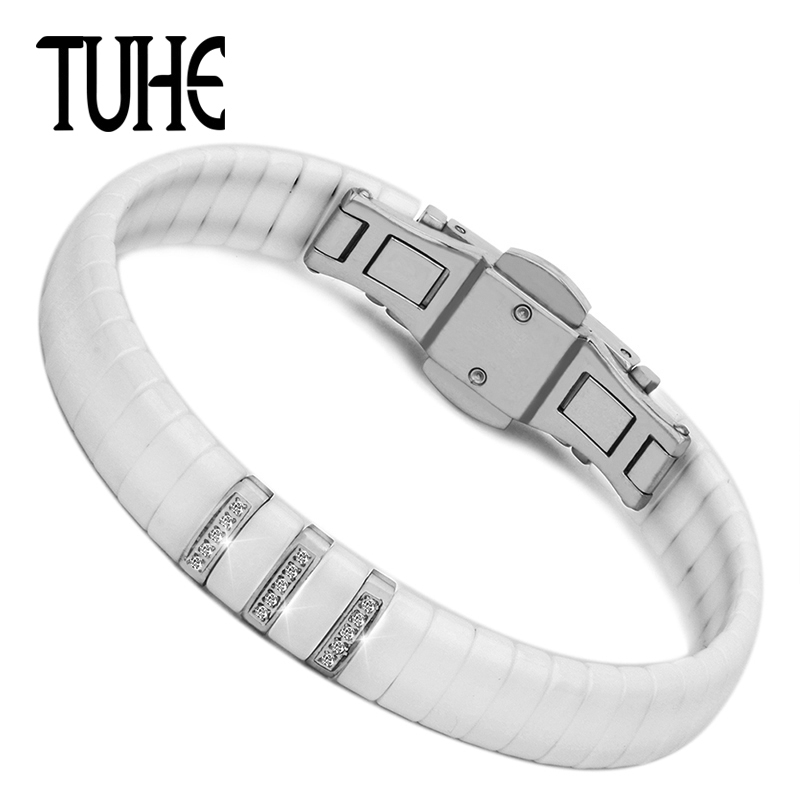 Healthy Smooth Ceramic Jewelry Stainless Steel Silver Color With Black White Ceramic Bangle Women Bracelets & Bangles For Gifts