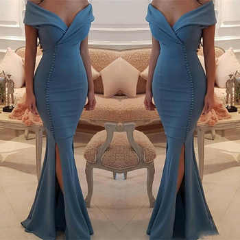 Elegant Off The Shoulder Mermaid Prom Dresses Side Split Sexy Satin Floor Length Mermaid Evening Gowns Pleats Cheap Formal Dress