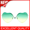 Highest quality peach Heart-shaped Sunglasses Big frame 2016 Korean Version Of Rimless Gradient Color love Sunglasses