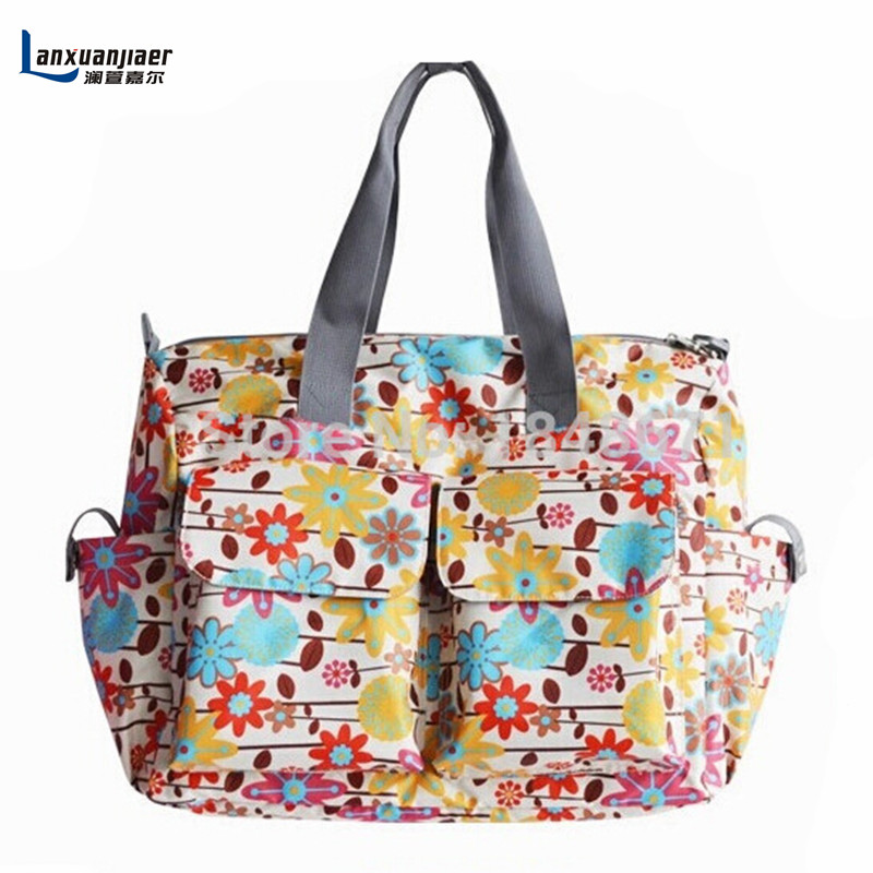 6pcs/set Colorful print large capacity multifunctional Mummy nappy baby diaper bags changing mat mommy bag babies care product