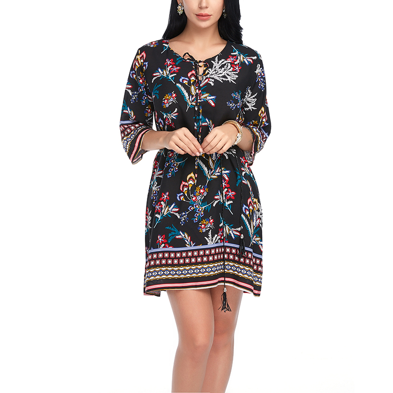 ef1eafb168 Plus Size Summer Women Boho Style Dresses Beach Floral Print Casual Half  Sleeve Sashes Dress Loose O-Neck High Waist Short Dress