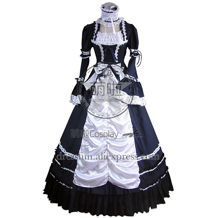 Renaissance Gothic Lolita Blue Dress Ball Gown Prom With Lace And Ruffles Decorated And Beautiful Stand Collar Grace For Party