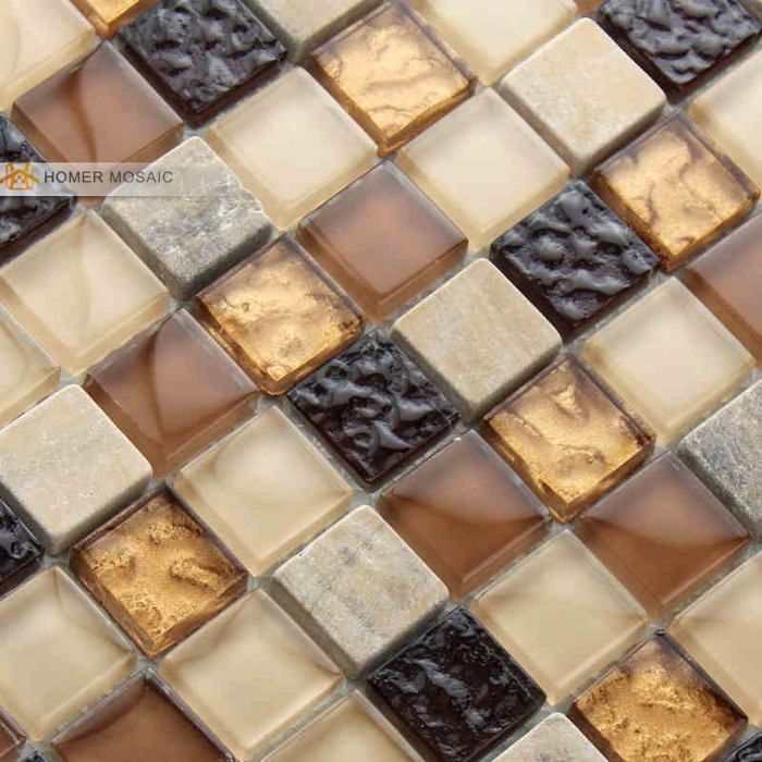 Brown Color Zone Glass Mixed Stone Tiles Bathroom Wall
