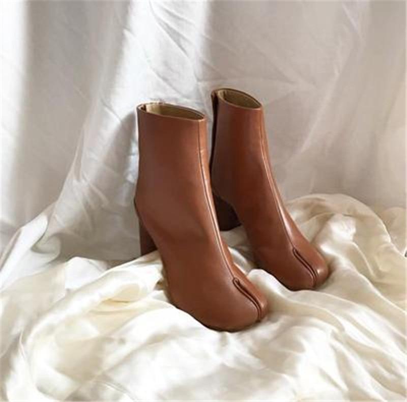 Zapatos Chunky Zapatillas Mujeres Las Botas Tabi Pic as Pista Pic As Cuero Diseñador Bottines Nuevo Mujer Tacones De Dedo qwf644A