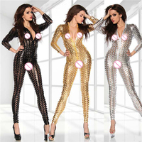 Plus Size Hollow Out Sexy Bodysuit Faux Leather Shiny DJ Dance Costume Fetish Clubwear PVC Jumpsuit