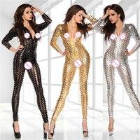 Plus Size Hollow Out Sexy Bodysuit Faux Leather Shiny DJ Dance Costume Fetish Clubwear PVC Jumpsuit Erotic Latex Catsuit FX43