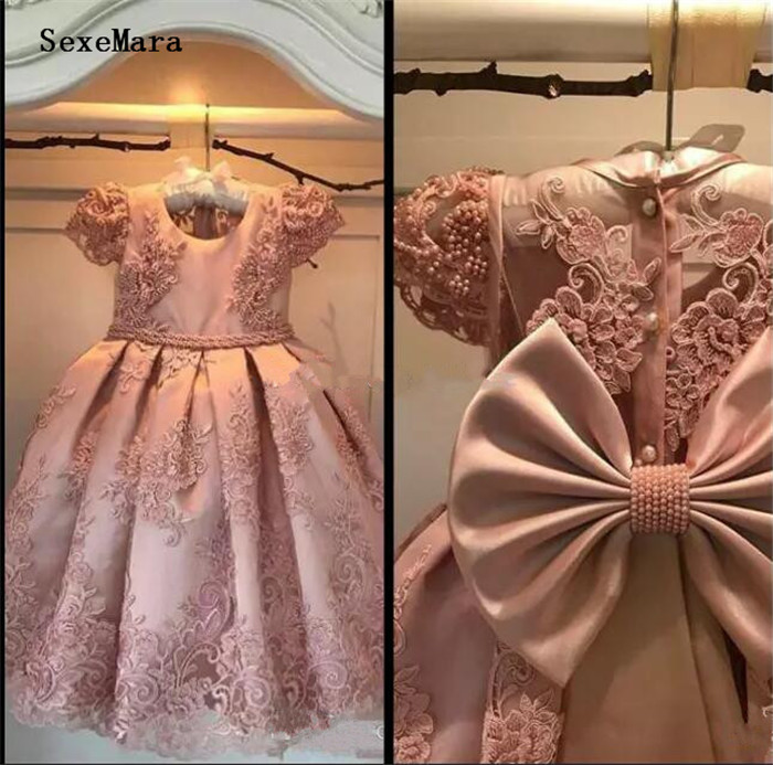 2018 Flower Girl Dresses A Line Jewel Cap Sleeve Floor Length Girls Pageant Dresses With Lace Applique Beads Birthday Dress graceful jewel neck cap sleeve flower pattern mini dress for women