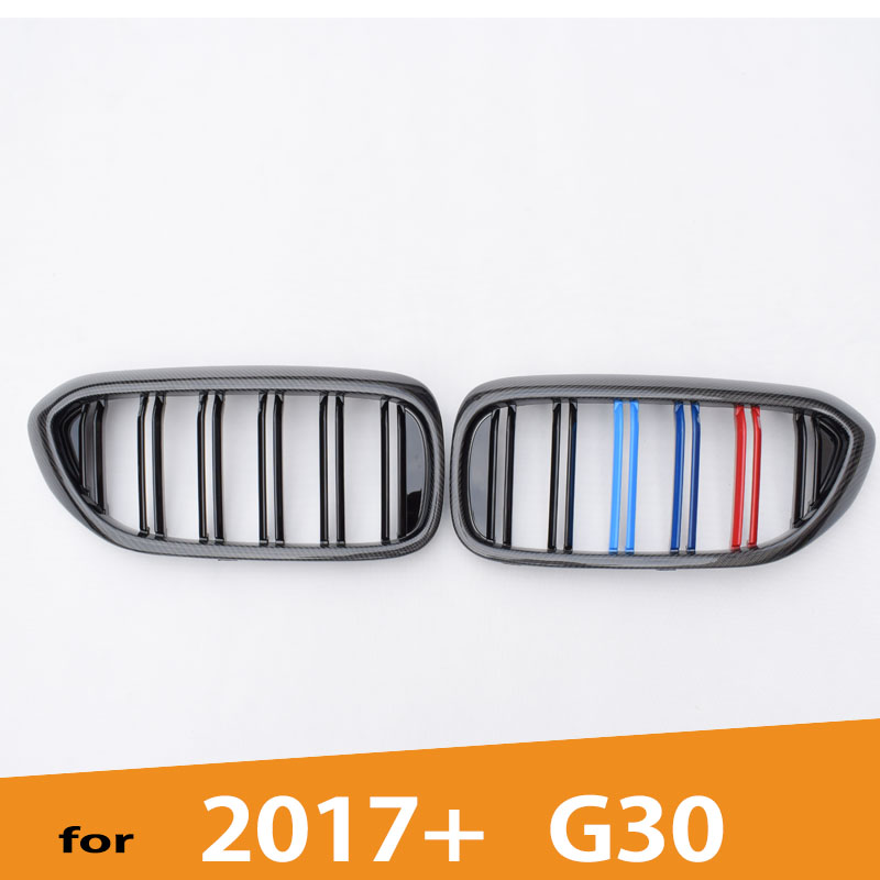 G30 M5 style Carbon Fiber Gloss 3 Color Car styling Front Bumper Mesh Racing Grill Grille for BMW New 5 Series G30 2017 2018