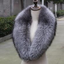 Настоящий зимний шарф из натурального меха серебристой лисы, Женское пальто, шарфы из меха лисы, декоративный меховой воротник