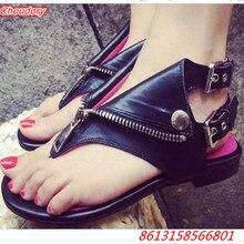 Punk Metal Decoration Women Sandals Ankle Buckle Flip Flop Shoes Women Low Square Heels Zipper Fashion Women Casual Flats Shoes