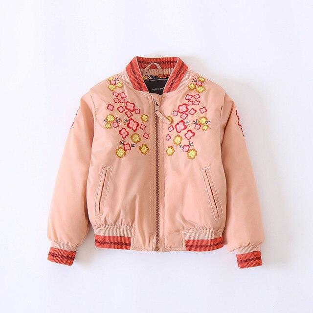 Пальто для девочек модные розовые теплые стеганые Курточка бомбер Детские зимние штаны Вышивка цветок стеганая куртка для Обувь для девочек Красивая Детская парка