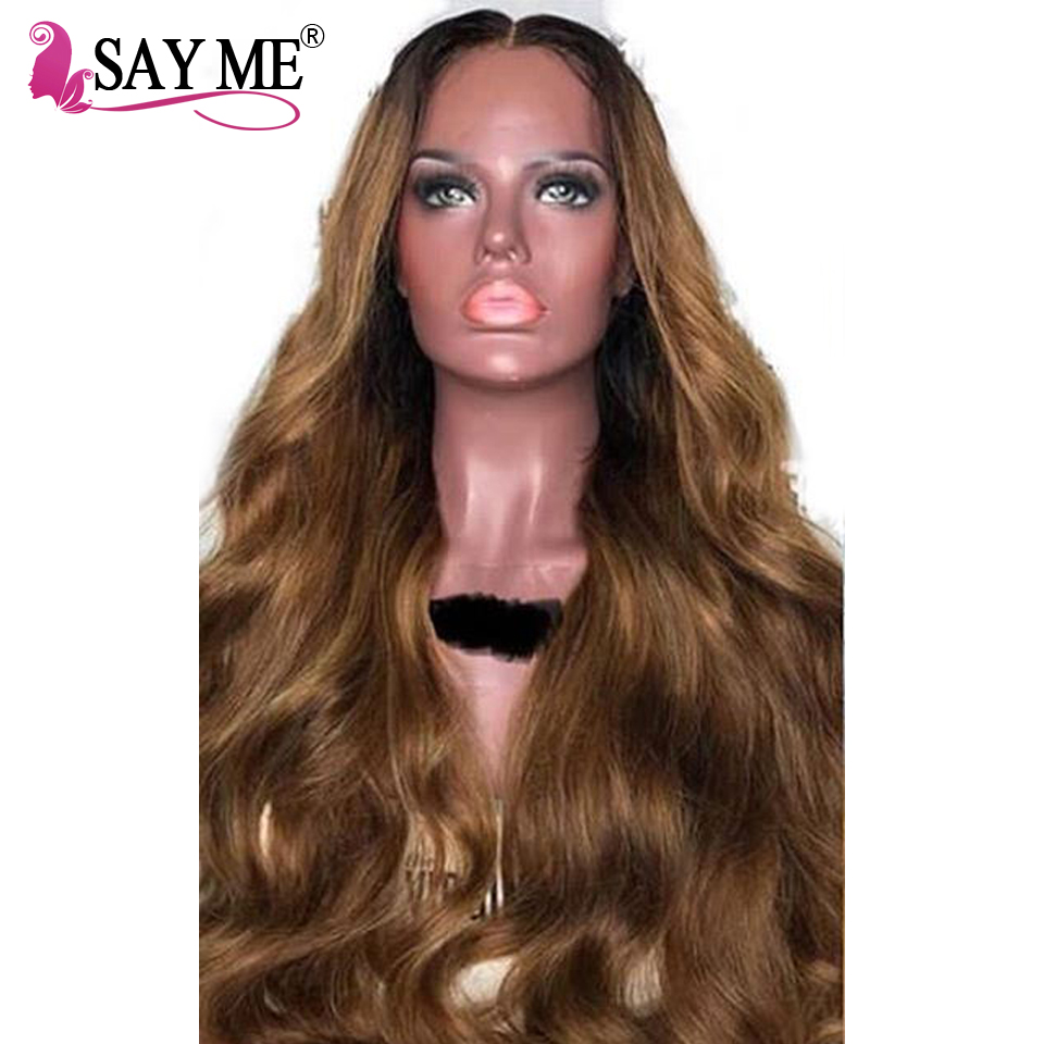 Ombre Dark Roots Brown Remy Brazilian Lace Front Human Hair Wigs for Black Women Pre Plcuked