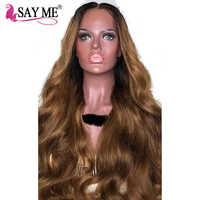 Ombre Dark Roots Brown Remy Brazilian Lace Front Human Hair Wigs for Black Women Pre Plcuked Body Wave Wig With Natural Hairline