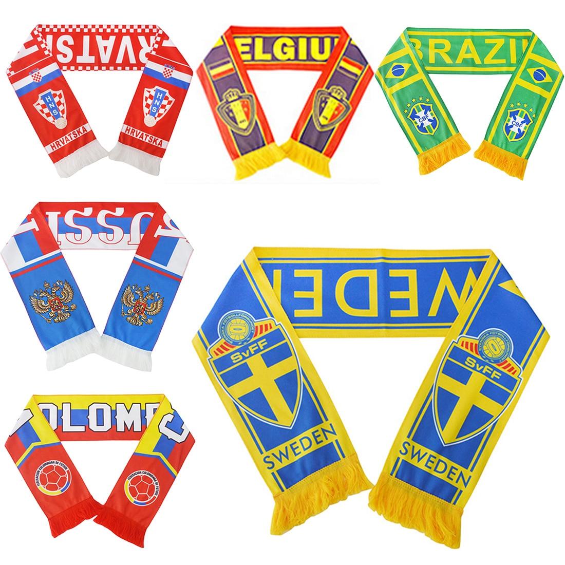 Football Scarf Soccer Ball Fan Scarf 12 Teams Flag Banner Futebol Cheerleaders Scarf Bola De Futebol Top Quality