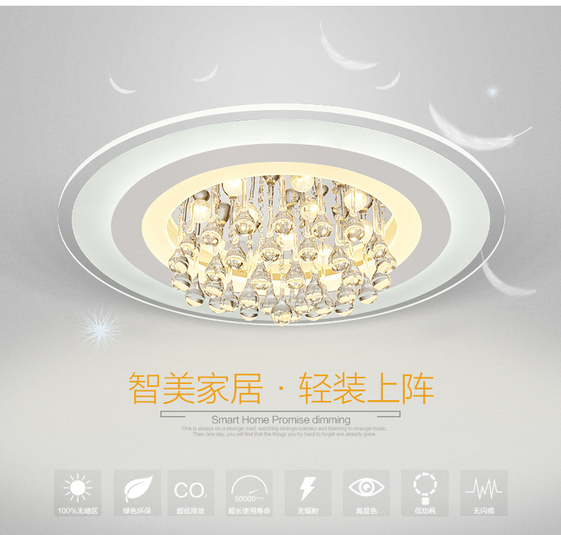 Modern led ceiling lights for indoor lighting crystal led round ceiling lamp fixture for bedroom luminaria teto led ceiling lamp in ceiling lights from