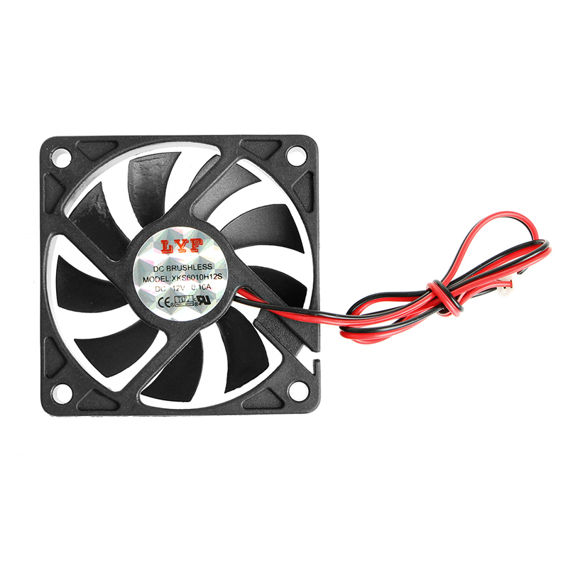 DC 12V 60x60x10mm 2-Pin PC Computer CPU System Sleeve-Bearing Cooling Fan 6010 - L059 New Hot