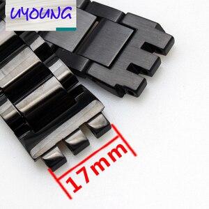 Image 3 - Correa de acero inoxidable, 17mm, negro, plateado, doble profundo, respuestos, correa de reloj para Swatch YRS, correa de reloj + herramienta