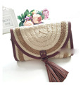 women patchwork beach bag female clutch bag rattan knitted national lady shoulder bag