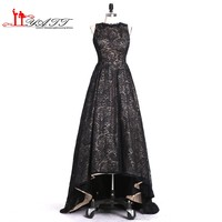 Liyatt Robe De Soiree African Black Lace Hi Low Evening Dresses Long 2017 Sexy Backless Formal