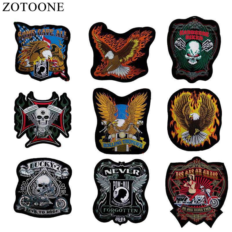 New Arrival Punk Rock Motorcycle Jacket Patch Badge For Clothes Stickers Iron On Cheap Big EmbroiderIed Biker Motorcycle Patches