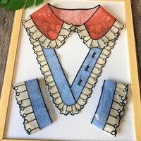 Rosso blu paillettes collare ricamato patch applique del fumetto patch di tessuto DIY abbigliamento patch decorazione accessori di cucito