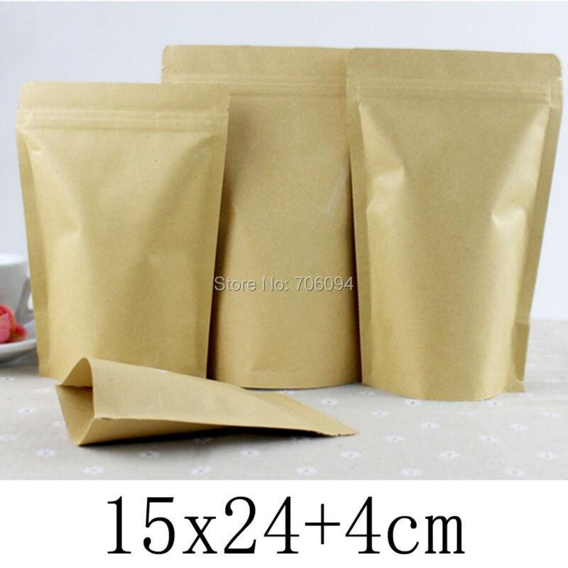 Acheter 15*24 + 4 cm (5.9*9.44 pouces) 100 Pcs Kraft Sac De Papier Pour Le Thé Poudre Alimentaire D'emballage standup Zip Verrouillage Sacs Cadeau Sac Papier Kraft poche de bag for fiable fournisseurs
