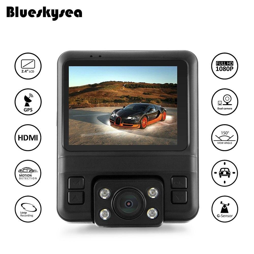 Blueskysea GS65H Mini Dual Lens Car DVR Dash Cameras 2.4LCD GPS Tracker Built-in 450mAh Battery G-sensor Loop Recording blackview gs65h автомобиля передняя задняя камера dvr gps обнаружения движения g сенсор loop цикл записи