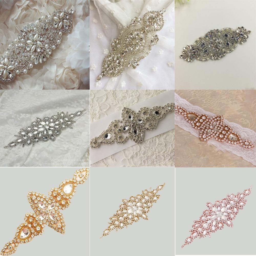 Silver/Rose Gold Wedding Rhinestone Applique Piece Crystal Beaded Accessories For Wedding Dress Bridal Belt Headpiece Bags