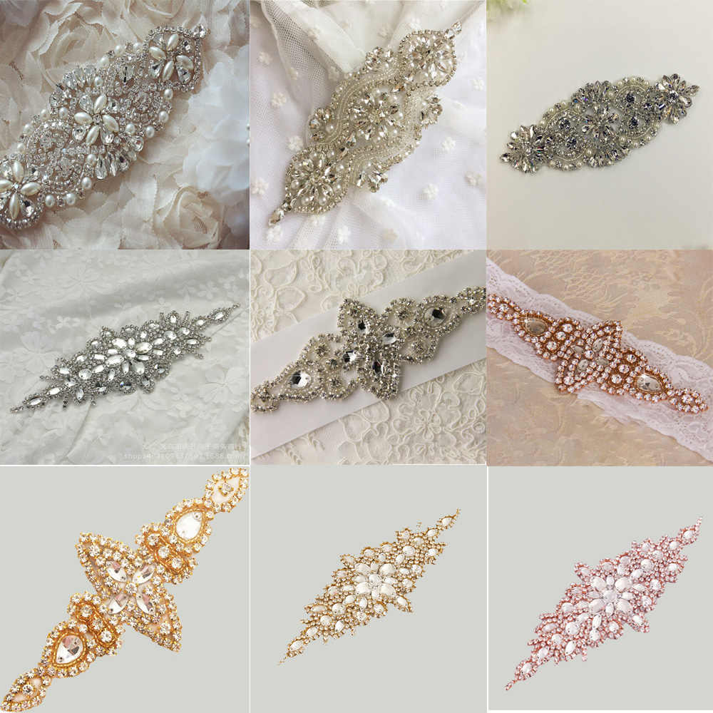 Silver/Rose gold Wedding Rhinestone Applique Piece Crystal Beaded Accessories for Wedding Dress Bridal Belt Headpiece Bags
