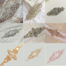 Silver Rose gold Wedding Rhinestone Applique Piece Crystal Beaded  Accessories for Wedding Dress Bridal Belt 6d79ab6416a8