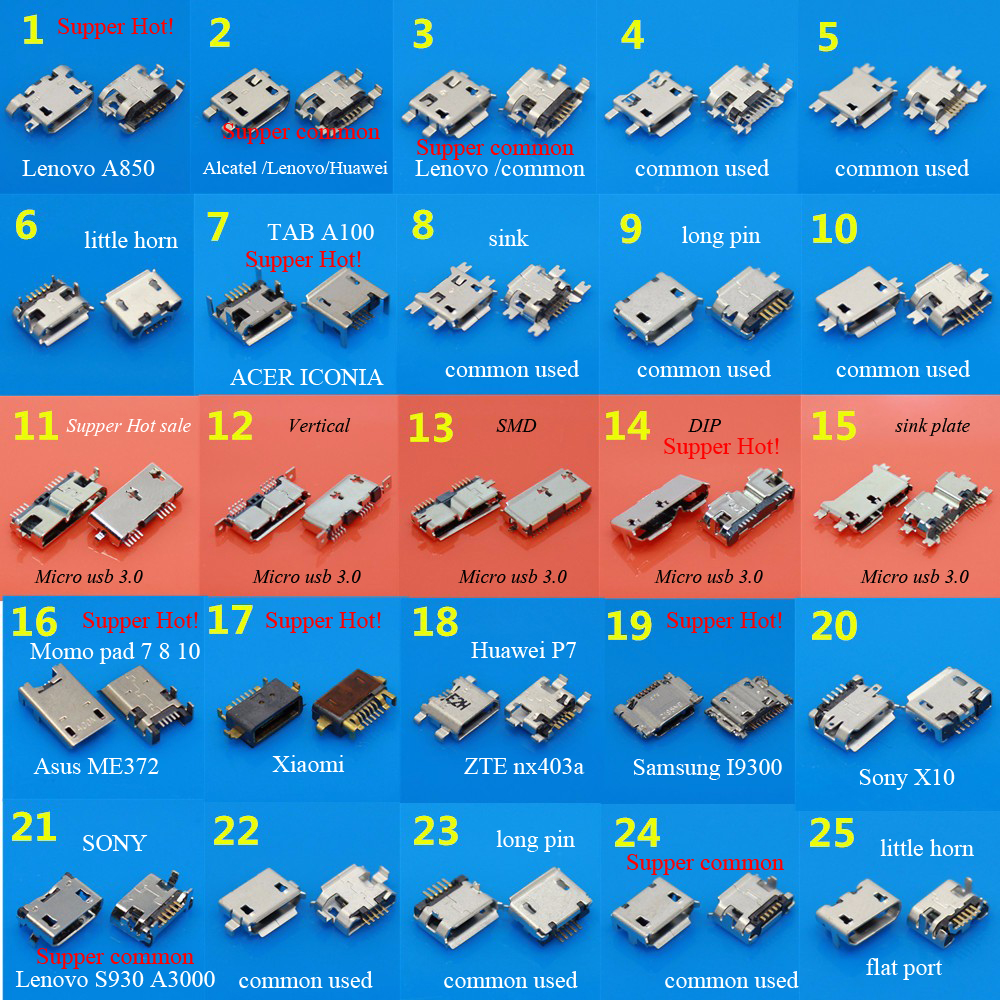 25Models 25pcs 3.0 Micro USB Jack Chariging Connector port sockect for Samsung/for ASUS/for SONY/for Lenovo Huawei ZTE Xiaomi notebook laptop usb jack usb plug 2 0 usb connector for sony usb motherboard jack for sony
