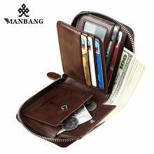 ManBang, новинка, модный мужской кошелек из натуральной кожи, маленький мужской кошелек на молнии, мужской короткий кошелек для монет, брендовый, высокое качество