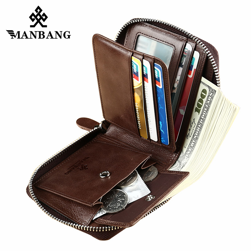 ManBang New Fashion Genuine Leather Men Wallet Small Men Wallet Zipper Male Short Coin Purse Brand High Quality Free Shipping wallet