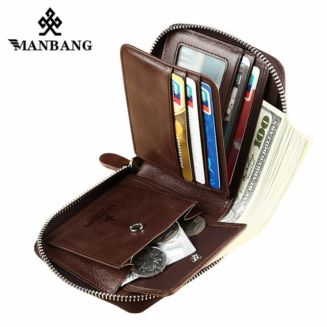 ManBang New Fashion Genuine Leather Men Wallet Small Men Wallet Zipper Male Short Coin Purse Brand High Quality Free Shipping