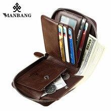 Manbang nova moda genuína carteira de couro dos homens pequenos carteira com zíper masculino curto moeda bolsa marca alta qualidade frete grátis