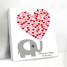 Check Price Love Elephant Wedding Decoration Rustic Canvas Guest Book Personalized Wedding Guest Book Frame Custom Name and Date Gift Favors
