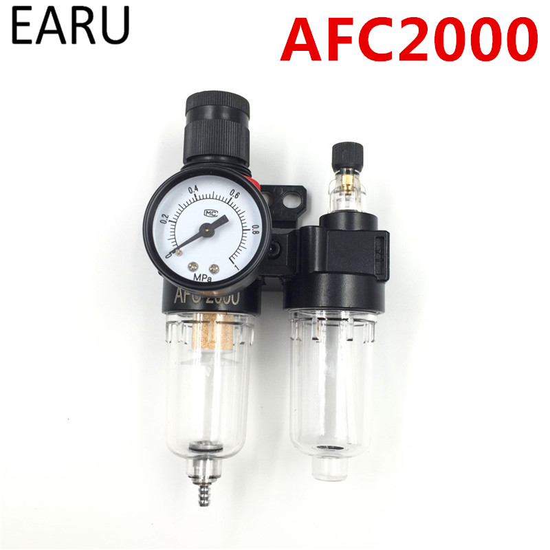 AFC2000 Air Compressor Treatment Unit Oil Water Separator Regulator FRL Combination Union Filter Airbrush Lubricator G1/4 Port afc2000 free shipping the oil water separator filter air compressor air treatment two automatic drainage pump spray lubricator