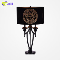 FUMAT Modern Simple Classical Table Lamp Metal Table Lamp For Living Room Hotel Deco Bedside Light Luxury Fabric Desk Lamp H73cm