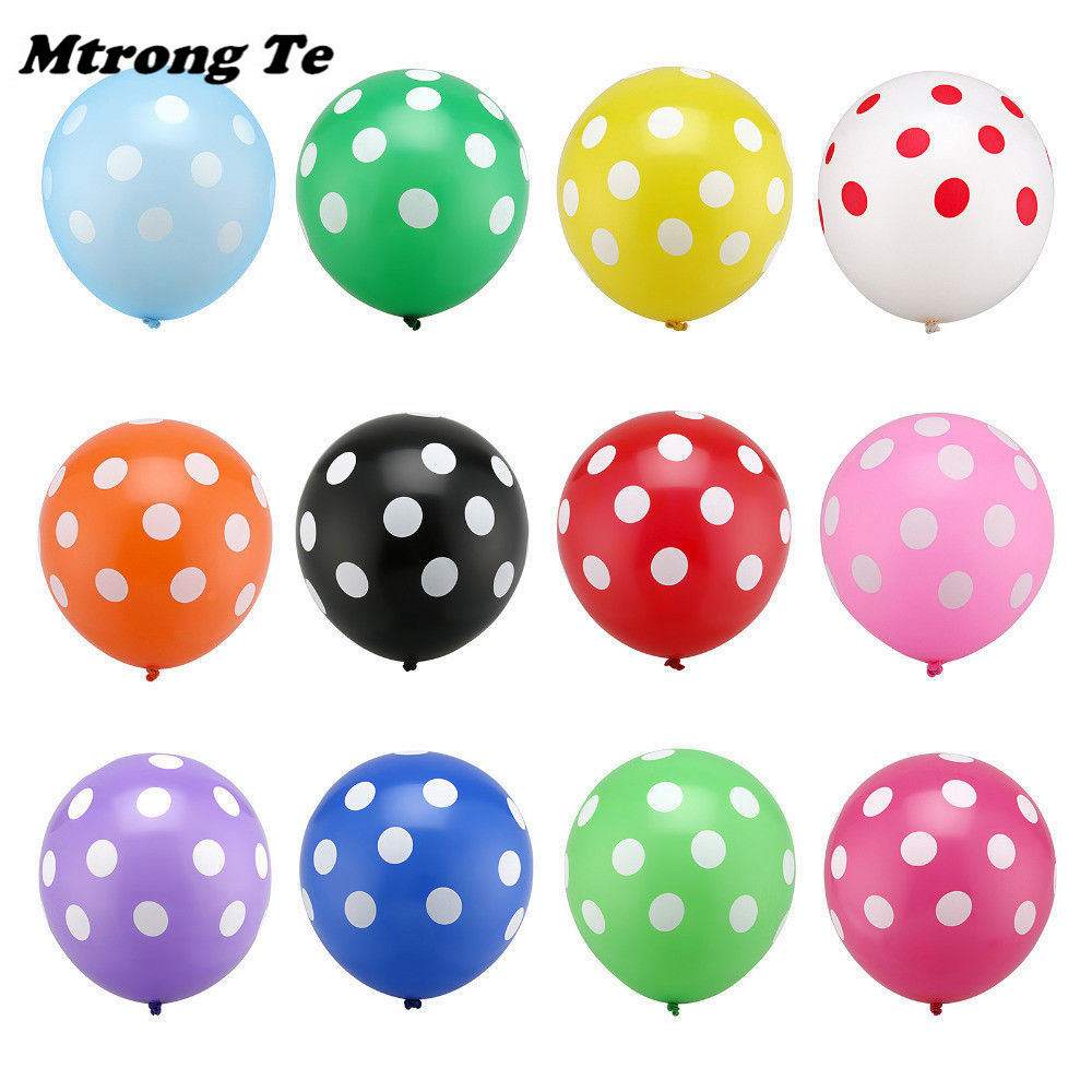 30pcs Black Red White Spot Latex Balloons Polka Dot Wave Point Globos Baby Shower Birthday Wedding Party Decoration Supplies