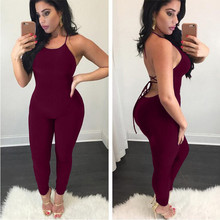 Women Summer Sexy Jumpsuits Spaghetti Strap Women Backless Hollow Out lace-up Sleeveless Solid Club Party Female Jumpsuit