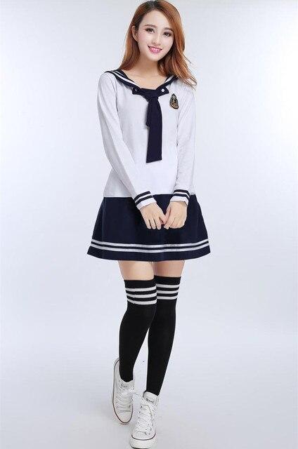 c71f660819 Chicas coreanas Estudiantes Uniformes de Servicio de Clase Uniformes  Escolares Británicos Camiseta + faldas japonés Disfraces