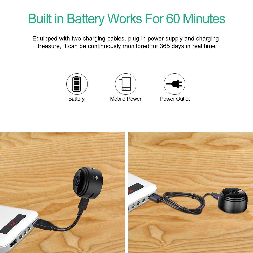 Mini Camera, Home Security Camera WiFi, Night Vision 1080P Wireless Surveillance Camera, Remote Monitor Phone App