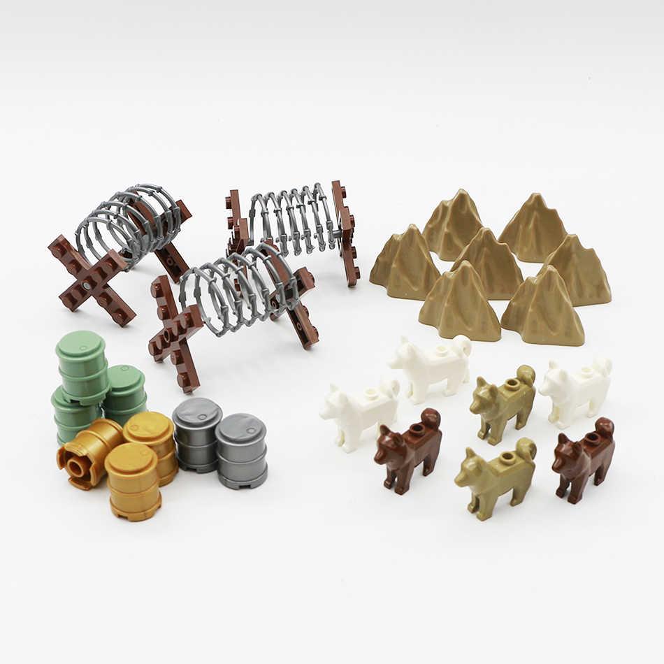 WW2 военный забор строительные блоки стена город полиция собака холм железный забор нефтяной барабан армейский солдат аксессуары Legoed кубики Moc игрушка