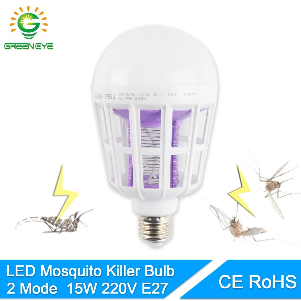 GreenEye 2Mode E27 LED Mosquito Killer Lamp Bulb 15w 220v UV Electric Trap Light Electronic Insect Bug Wasp Pest Fly Indoor Home 220v 1w led light electronic indoor mosquito insect killer bug fly zapper lamp trap for home living room bedroom kitchen